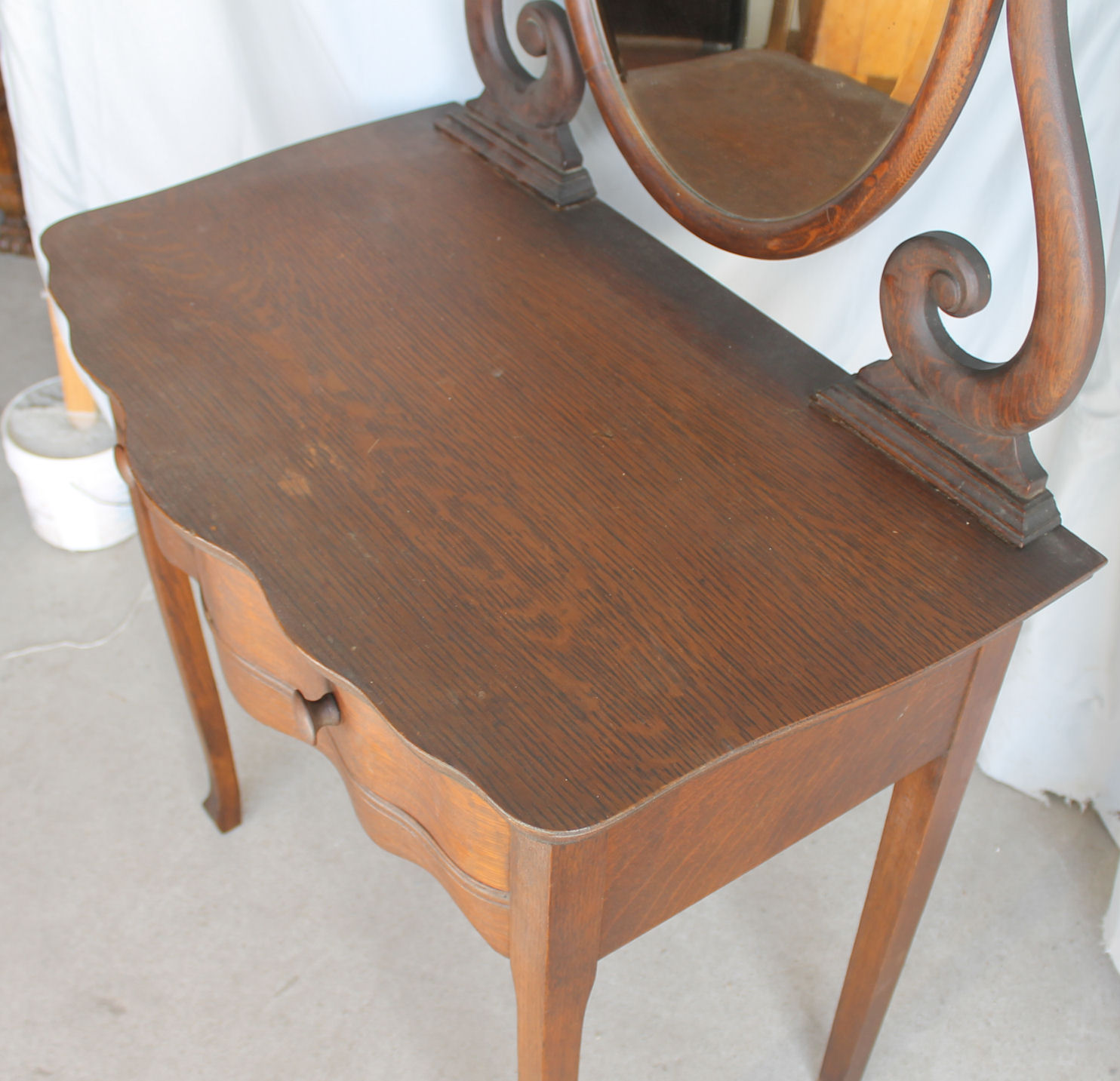 Oak Vanity Chair Bargain John 39s Antiques Oak Vanity And Chair Original