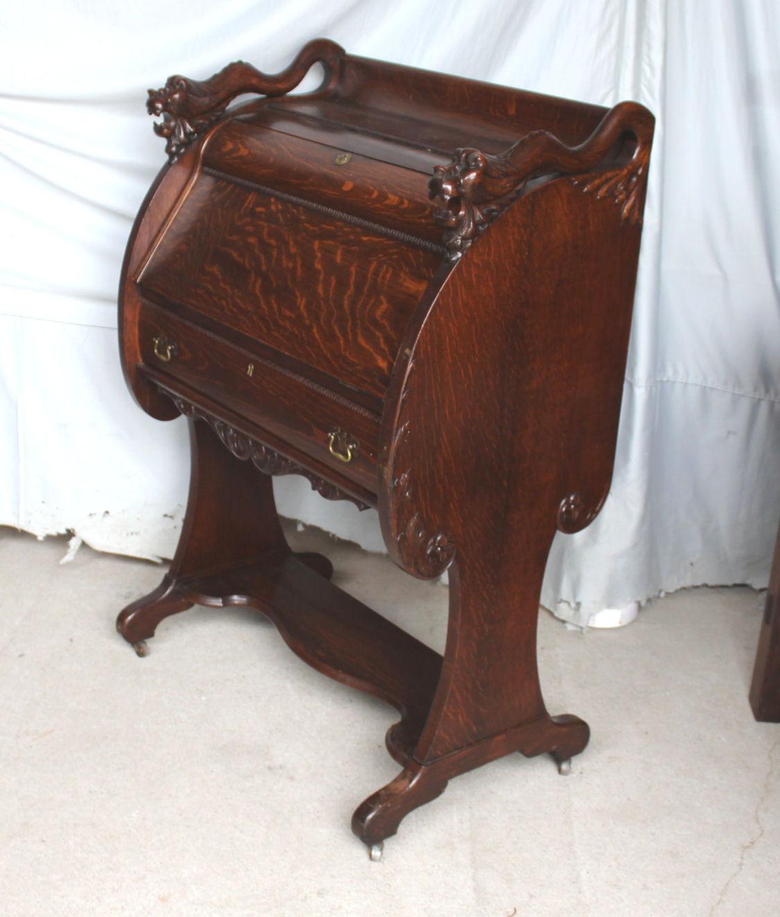 Unusual Desk Antique Oak Drop Front Secretary Desk Unusual Design Quarter Sawn Oak