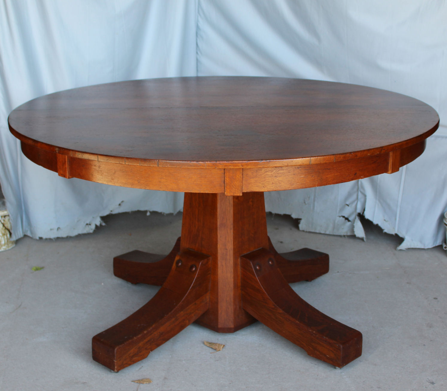 Round Oak Dining Table Antique Mission Arts Crafts Round Oak Dining Table Stickley Brothers