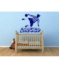 Football player as personalised boy bedroom wall sticker ...