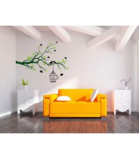 Bedroom big tree branch and birds cage wall decoration ...