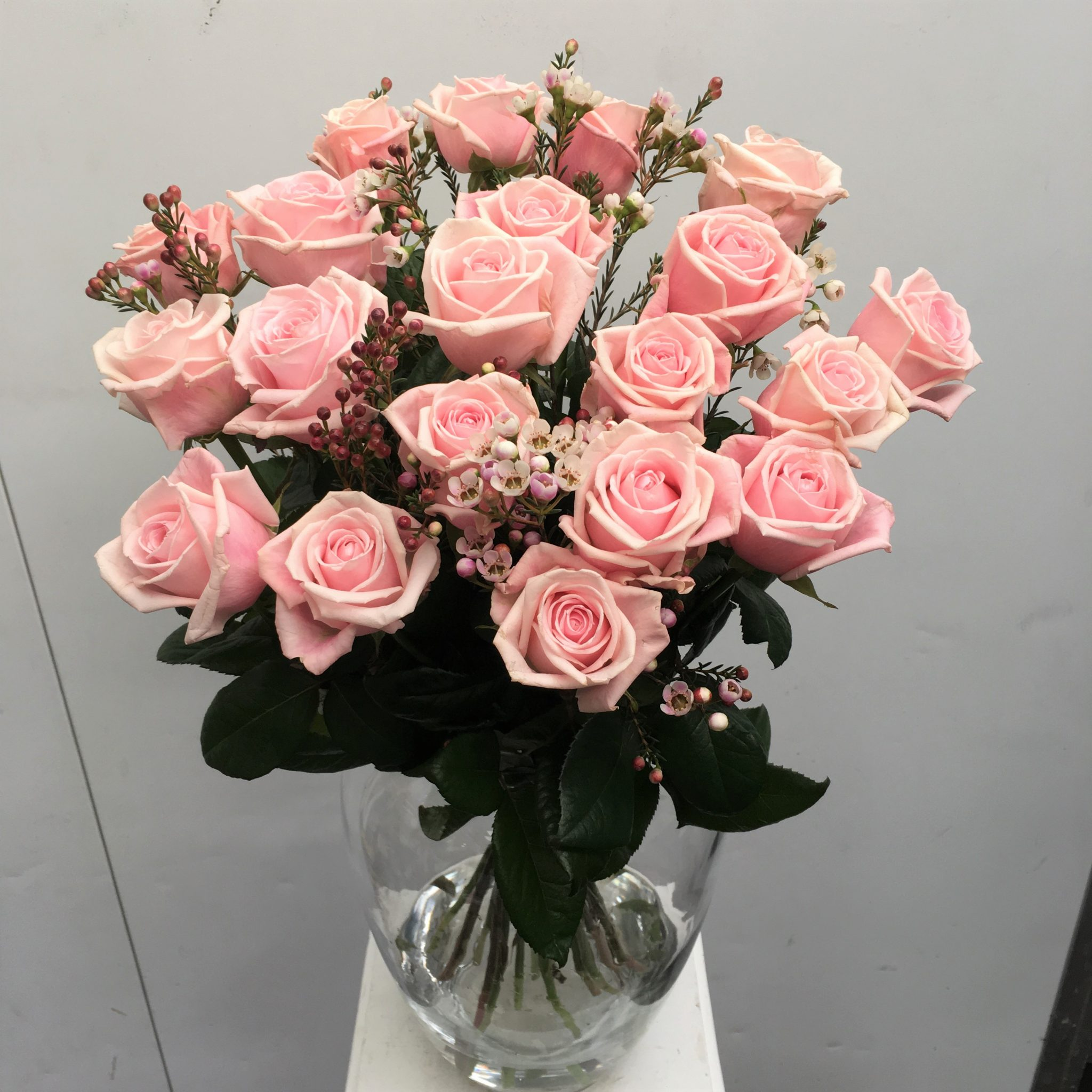 Rosen In Vase 20 Long Stem Pink Roses In A Vase