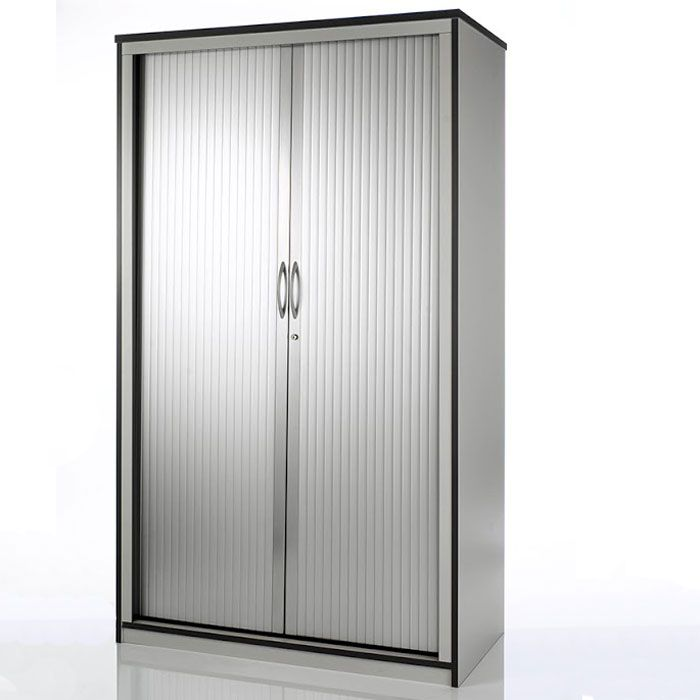 Roller Badschrank Tambour Storage Unit With Roller Doors | Silver Storage