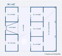 Barn Plans -5 Stall Horse Barn - Design Floor Plan