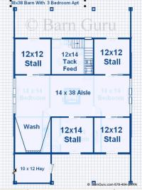 Barn Plans With Living Quarters -4 Stalls - 3 Bedrooms ...