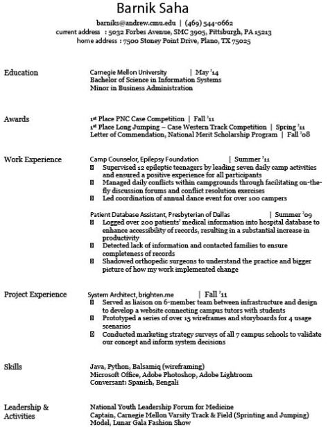 resume for internship docx