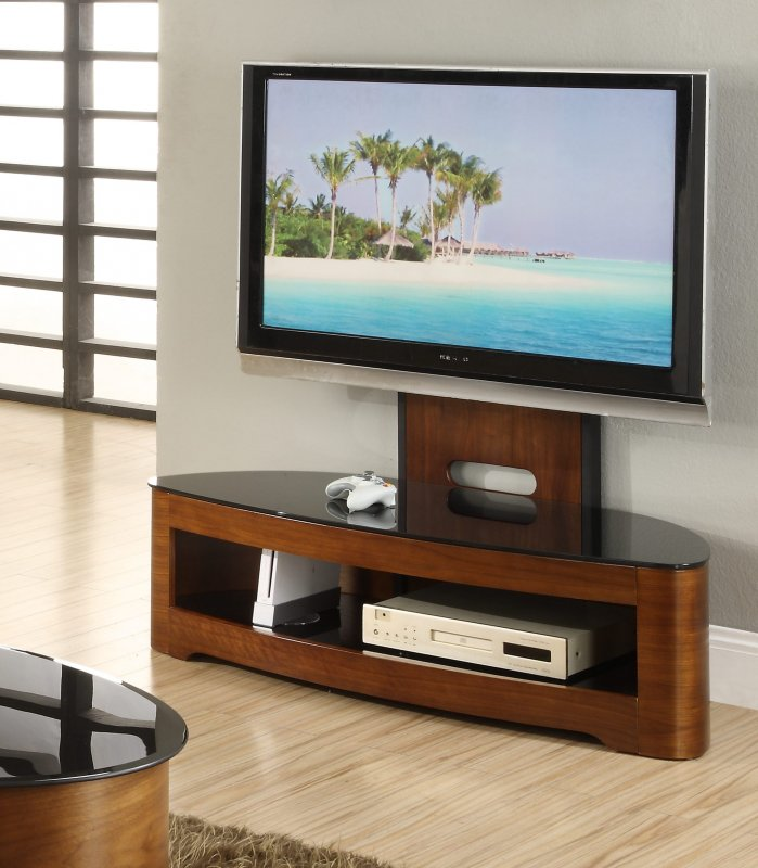 Meuble Tv Curved Jual Florence Walnut & Black Glass Curved Wood Cantilever