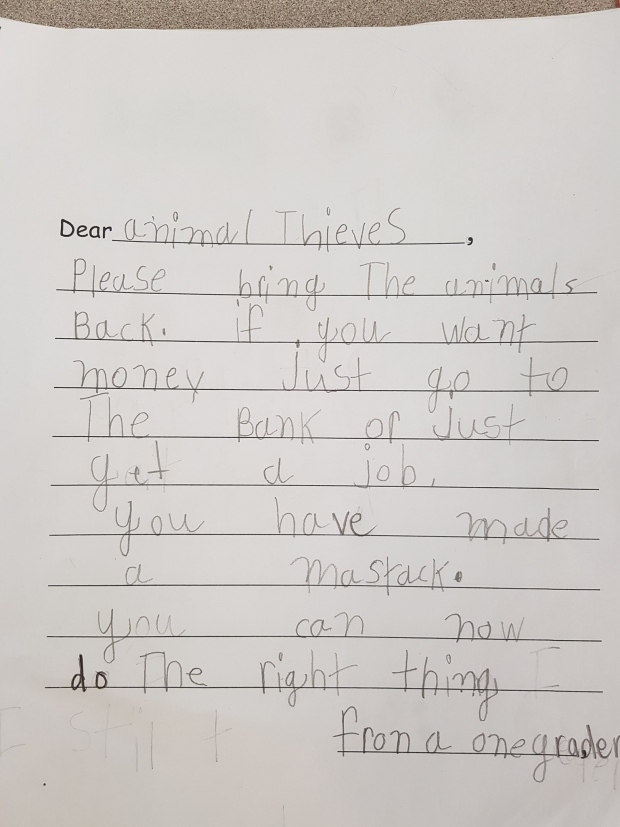 Grade 1 students write letters asking thieves to return stolen zoo