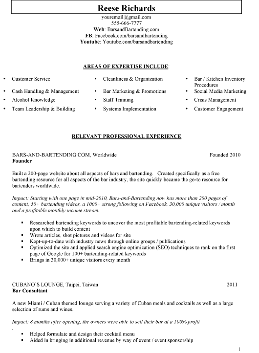 Responsibilities of bartender for resume
