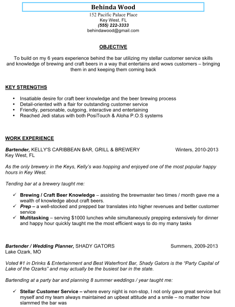 sample bartender resume