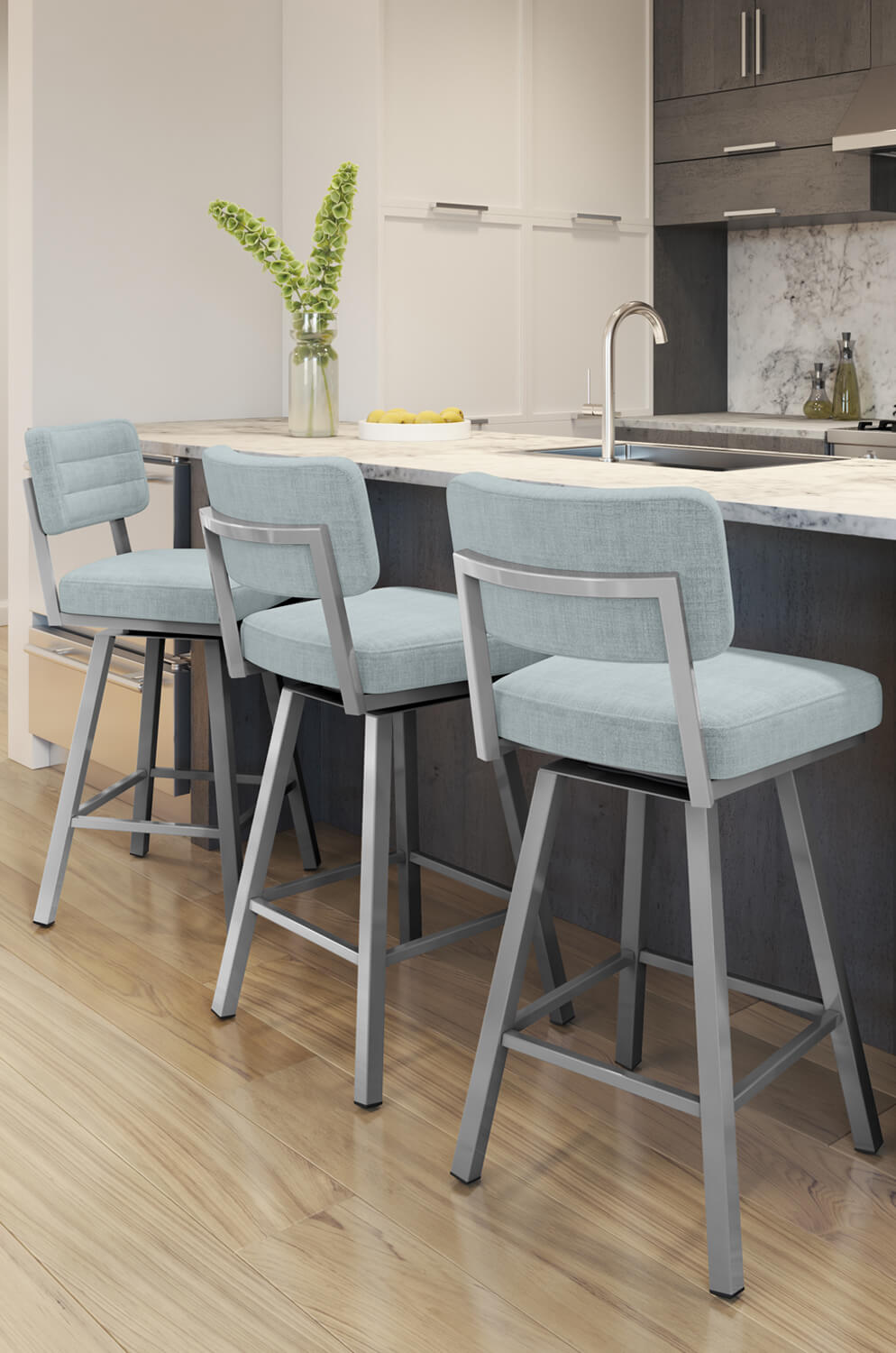 Metal Stools Phoebe Upholstered Swivel Bar Stool With Back