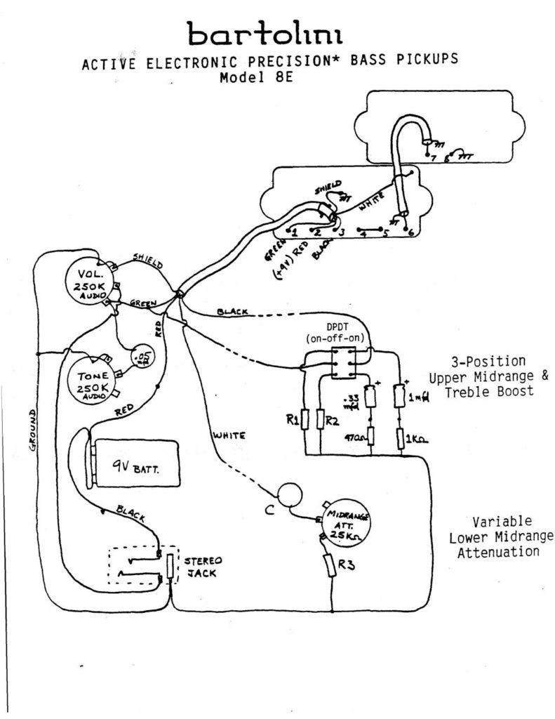bartolini bass pickup wiring diagrams