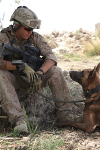 Cpl Manthey and Zzisko on patrol in Afghanistan