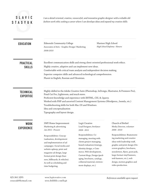 30 Great Examples Of Creative CV Resume Design Web  Graphic - web design resume