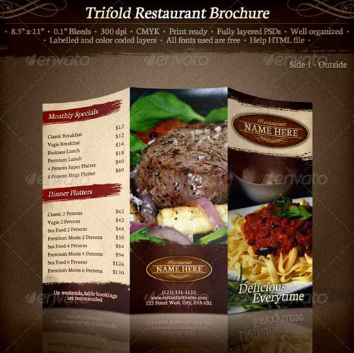 Restarunt Brochure Tri Fold Restaurant Brochure Template Restaurant