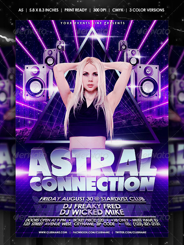 Electro Wallpaper Girl 30 Vibrant Amp Colorful Party Flyer Templates Web
