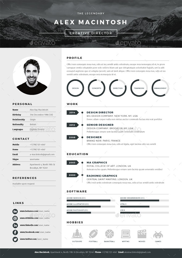 modele cv adobe indesign