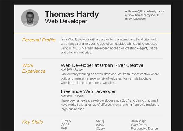 template cv web responsive