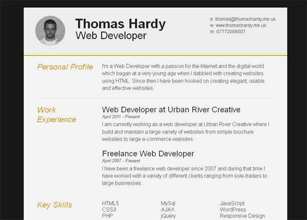 template web cv psd one page