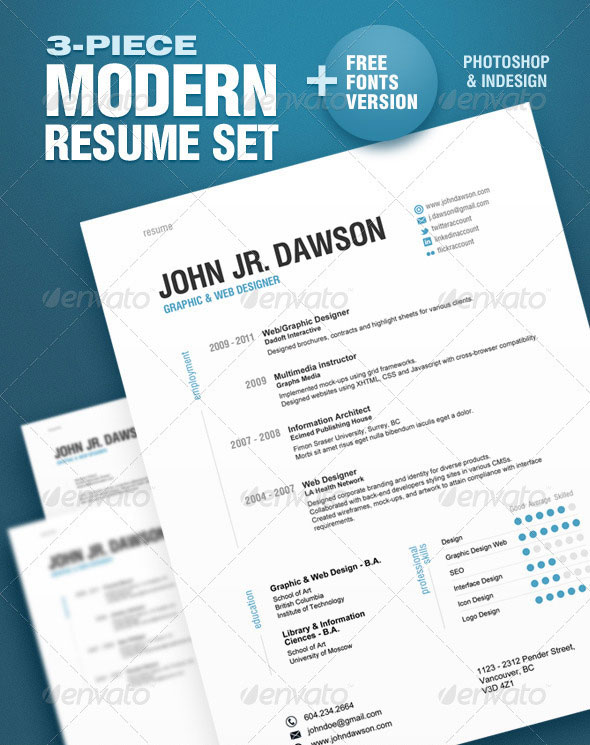 20 Best Resume Templates \u2013 Web  Graphic Design on Bashooka