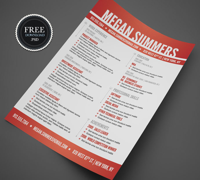 28 Free CV Resume Templates ( HTML PSD  InDesign ) Web  Graphic