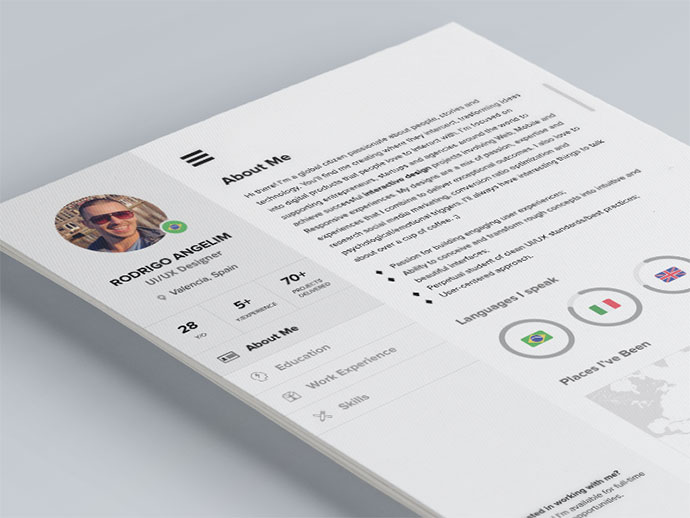 free one page web resume template