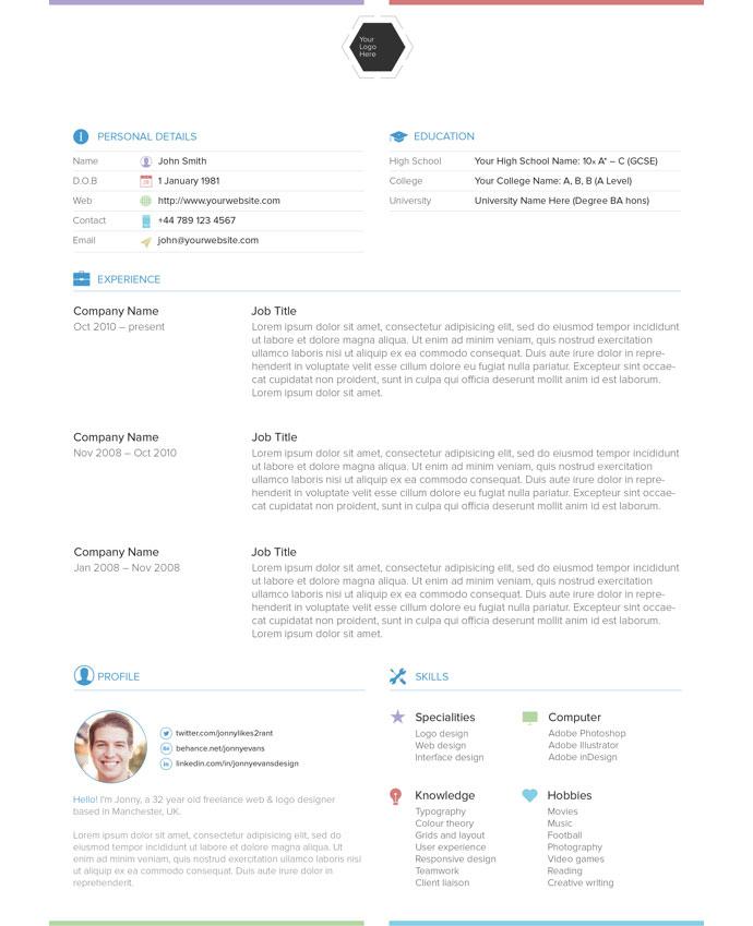 28 Free CV Resume Templates ( HTML PSD  InDesign ) Web  Graphic - html resume