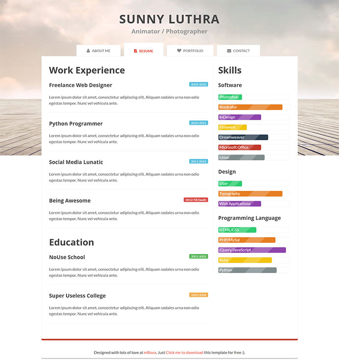 bootstrap one page resume template