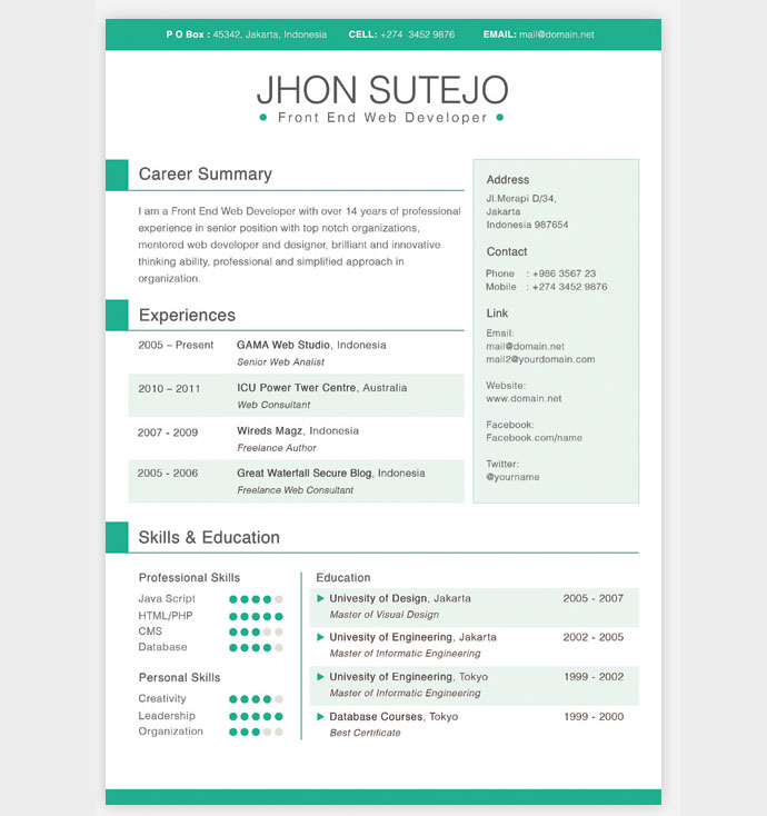 28 Free CV Resume Templates ( HTML PSD  InDesign ) Web  Graphic - general resume template free