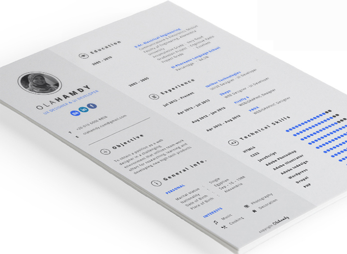 simple cv template indesign