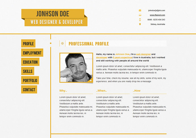 50 Professional HTML Resume Templates Web  Graphic Design Bashooka - resume template website