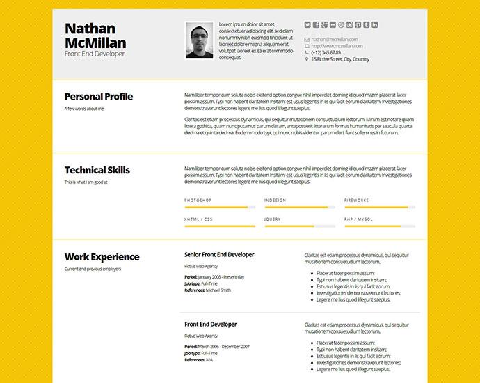 50 Professional HTML Resume Templates Web  Graphic Design Bashooka