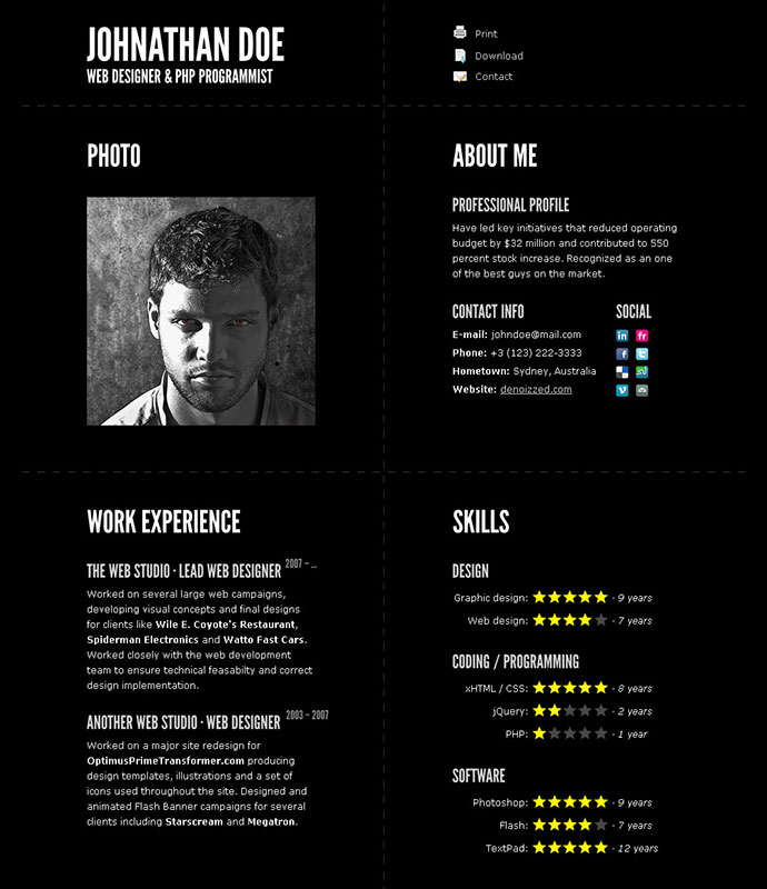 cv html design ideas