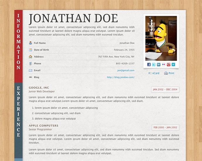 50 Professional HTML Resume Templates Web \ Graphic Design - amazing resume templates