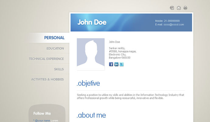 50 Professional HTML Resume Templates \u2013 Web  Graphic Design on Bashooka