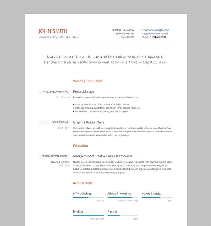 cv code html template