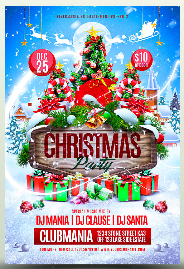 25 Christmas  New Year Party PSD Flyer Templates \u2013 Web  Graphic