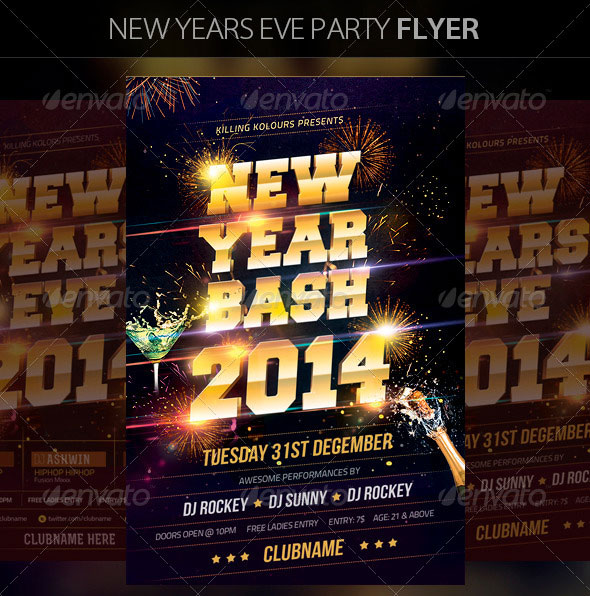 25 Christmas  New Year Party PSD Flyer Templates Web  Graphic - free new years eve flyer template