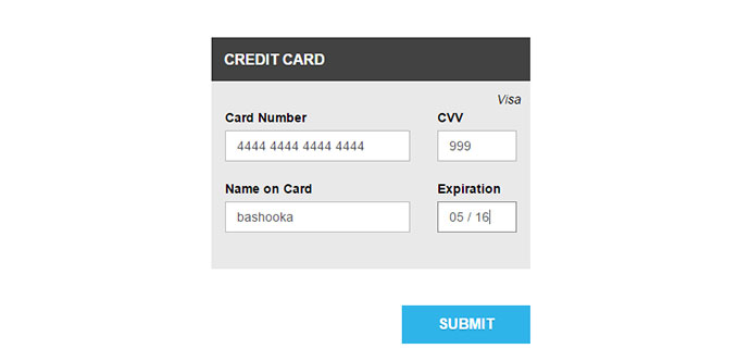 8 jQuery Credit Card Form Plugins Web \ Graphic Design Bashooka - credit card form