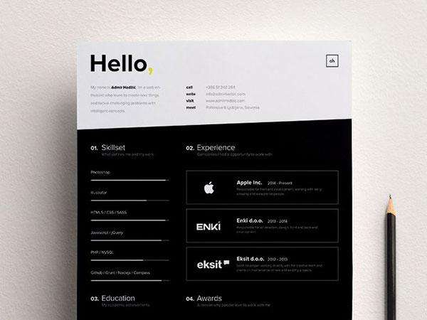 black and white cv design
