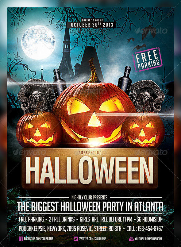 25 Hellacious PSD Halloween Flyer Templates 2015 Web  Graphic - halloween website template