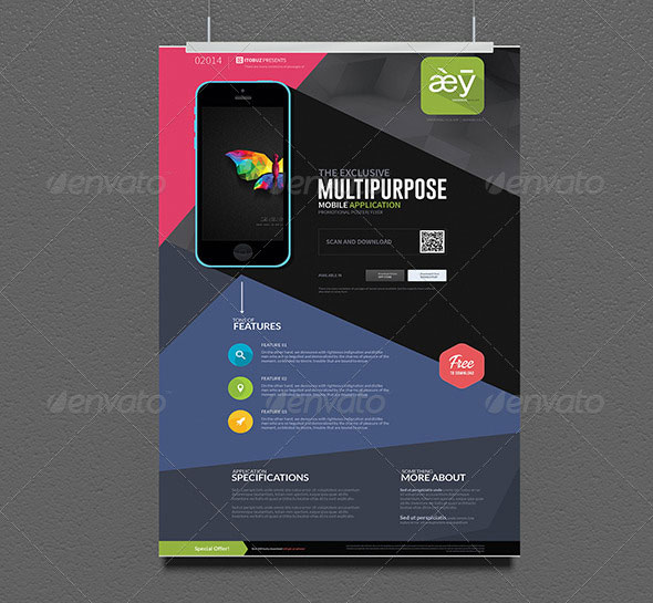 30 Effective Web  Mobile Apps Flyer PSD Templates \u2013 Web  Graphic