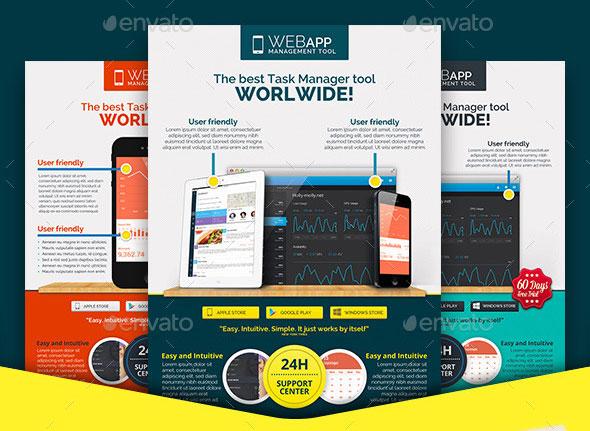 30 Effective Web  Mobile Apps Flyer PSD Templates Web  Graphic - web flyer