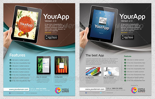 30 Effective Web  Mobile Apps Flyer PSD Templates Web  Graphic