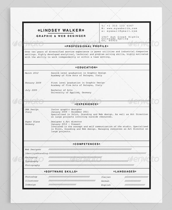 25 Best Simple Photoshop  InDesign Resume Templates Web  Graphic
