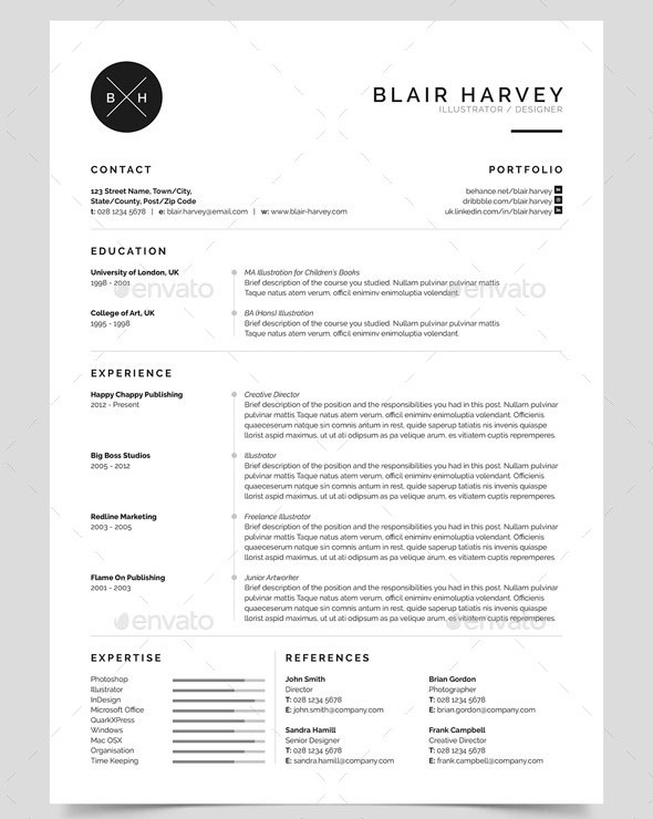 indesign resume template simple