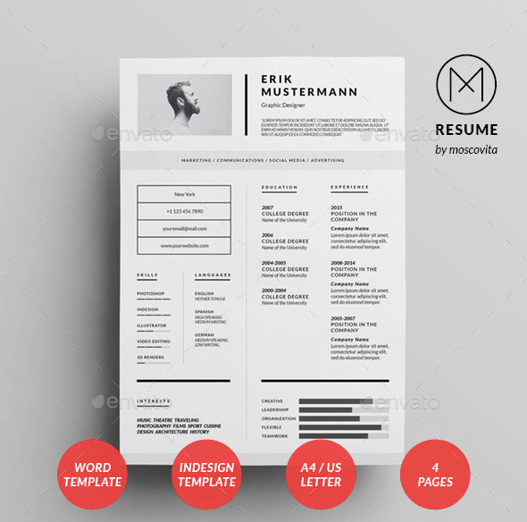 25 Best Simple Photoshop  InDesign Resume Templates \u2013 Web  Graphic