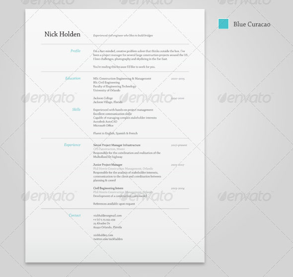 25 Best Simple Photoshop  InDesign Resume Templates Web  Graphic - Simple Resume Design