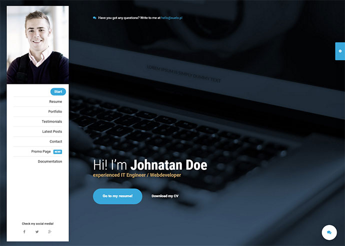 20 Best Personal VCard  Resume HTML Templates Web  Graphic - resume site template