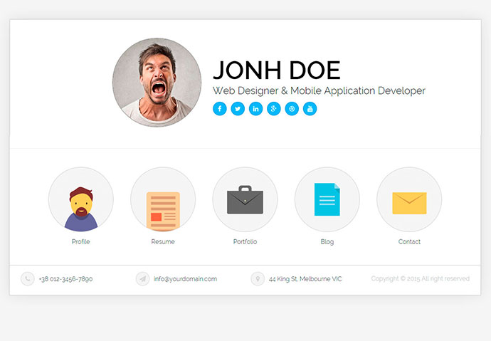 20 Best Personal VCard \ Resume HTML Templates Web \ Graphic - resume website template